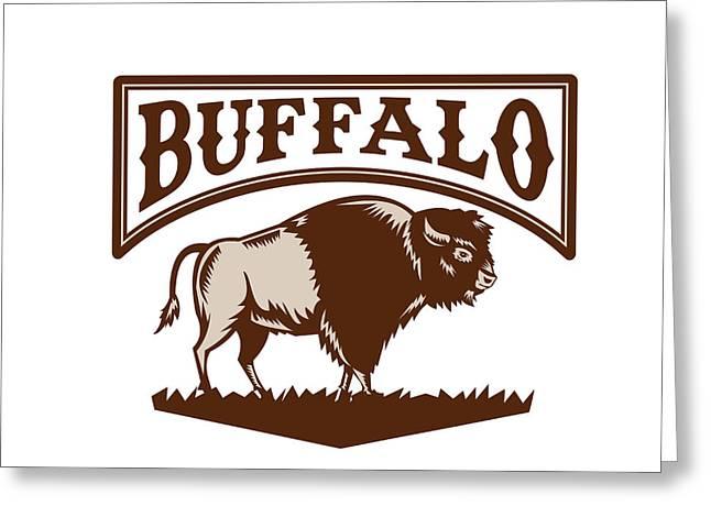 Buffalo American Bison Side Woodcut Greeting Card