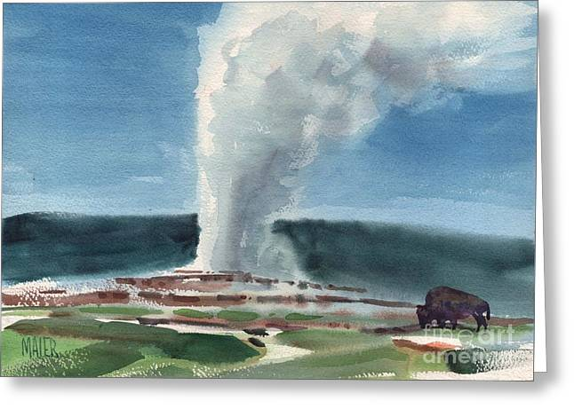 Buffalo And Geyser Greeting Card