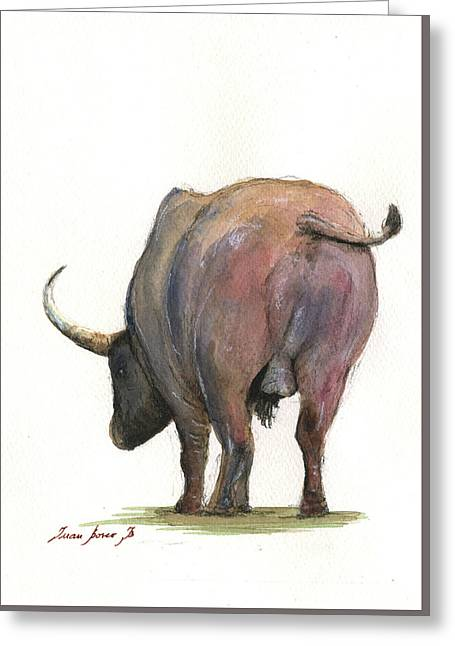 Buffalo Back Greeting Card by Juan Bosco