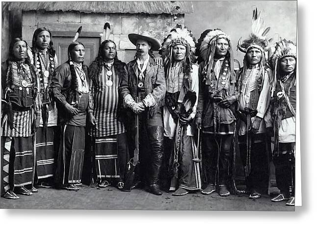 Buffalo Bill And Indian Troupe C. 1888 Greeting Card by Daniel Hagerman