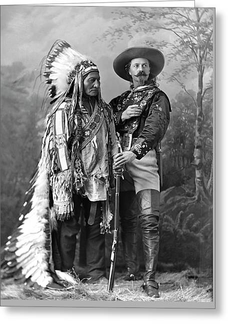 Buffalo Bill Cody And Chief Sitting Bull C. 1890 Greeting Card by Daniel Hagerman