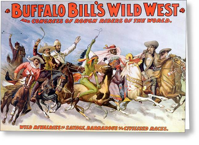 Buffalo Bills Wild West, Rough Riders Greeting Card by Science Source