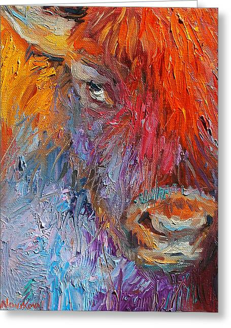 Textured Drawings Greeting Cards - Buffalo Bison wild life oil painting print Greeting Card by Svetlana Novikova