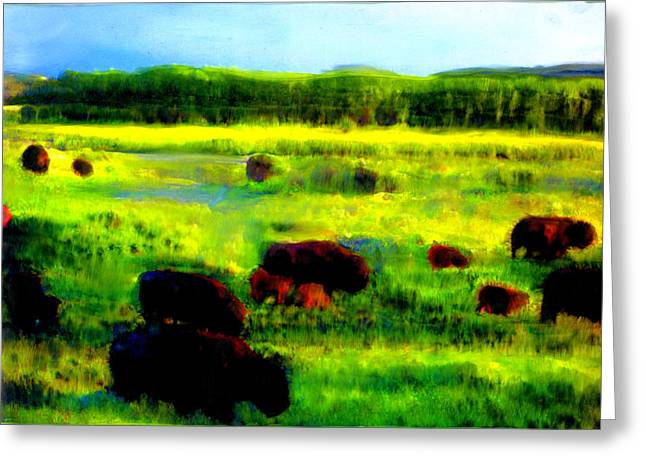 Greeting Card featuring the painting Buffalo Coming Home by FeatherStone Studio Julie A Miller