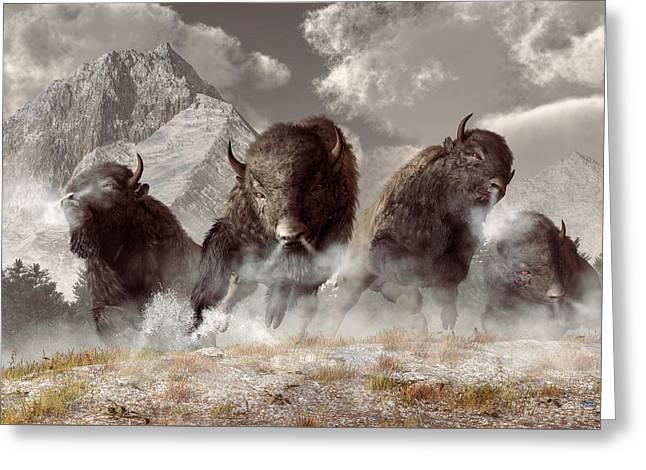 Buffalo Greeting Card by Daniel Eskridge