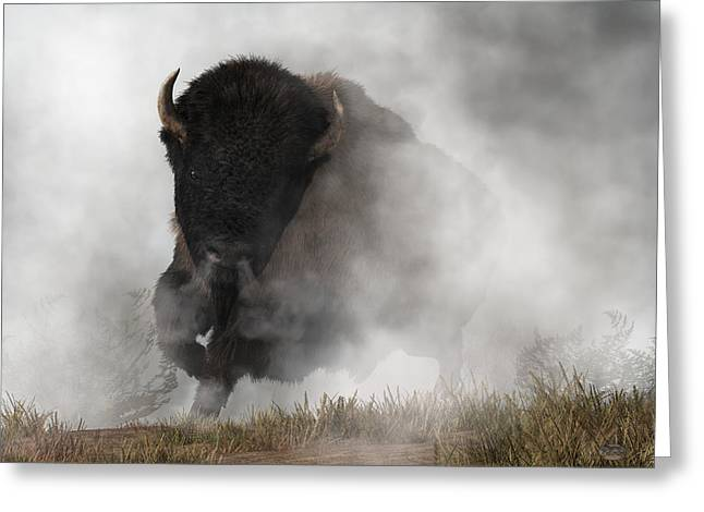 Greeting Card featuring the digital art Buffalo Emerging From The Fog by Daniel Eskridge