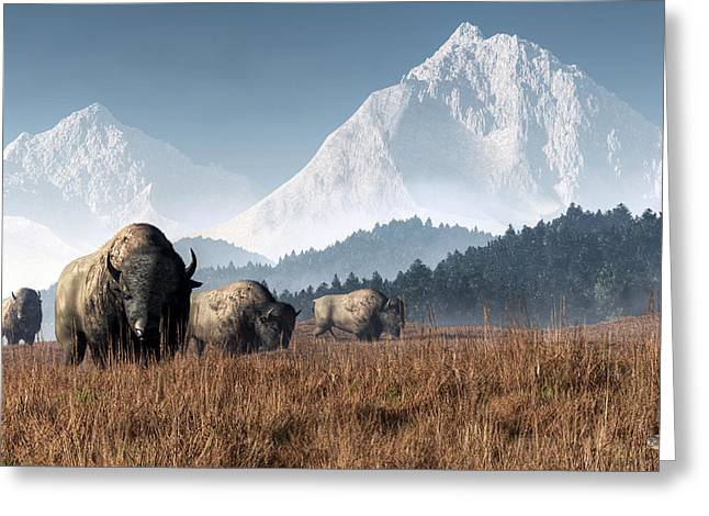 Greeting Card featuring the digital art Buffalo Grazing by Daniel Eskridge