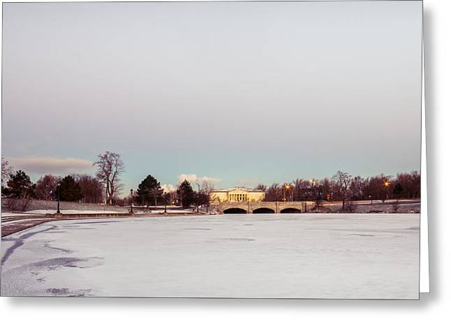 Greeting Card featuring the photograph Buffalo History Museum Across Hoyt Lake by Chris Bordeleau