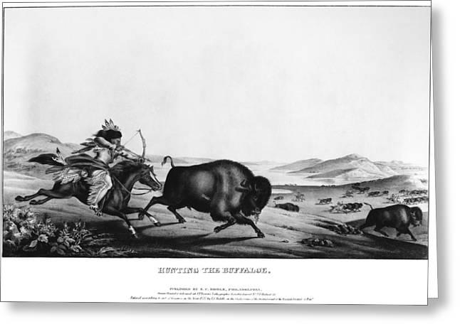 Buffalo Hunt, 1837 Greeting Card by Granger