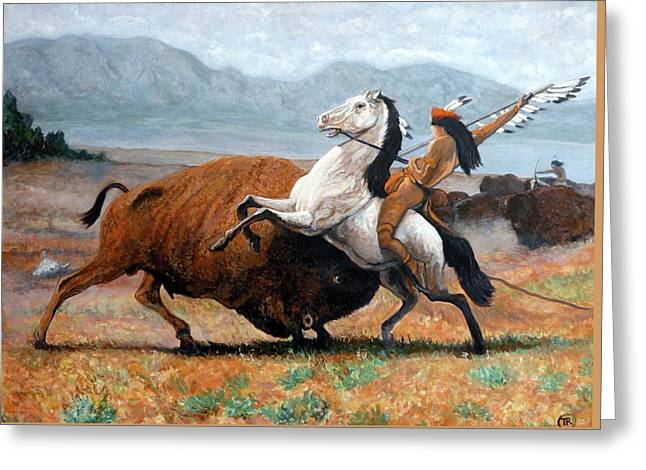 Greeting Card featuring the painting Buffalo Hunt by Tom Roderick