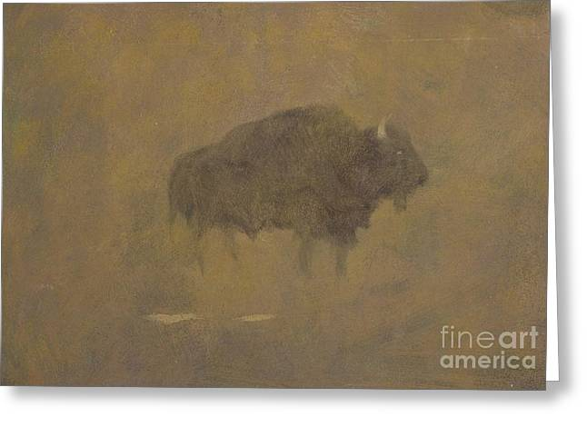 Buffalo In A Sandstorm Greeting Card by Albert Bierstadt