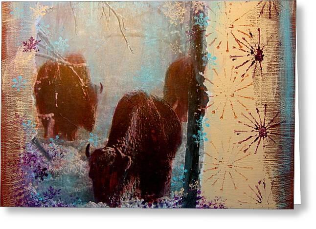 Buffalo In Winter Greeting Card by Carolyn Curtice