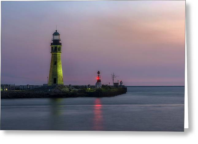 Greeting Card featuring the photograph Buffalo Main Light by Mark Papke