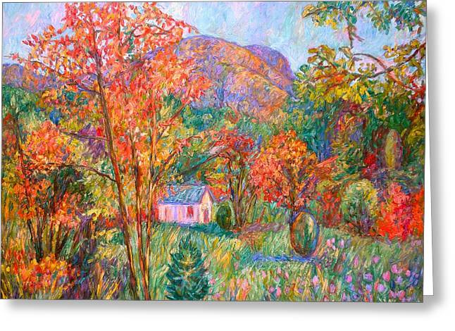 Greeting Card featuring the painting Buffalo Mountain In Fall by Kendall Kessler