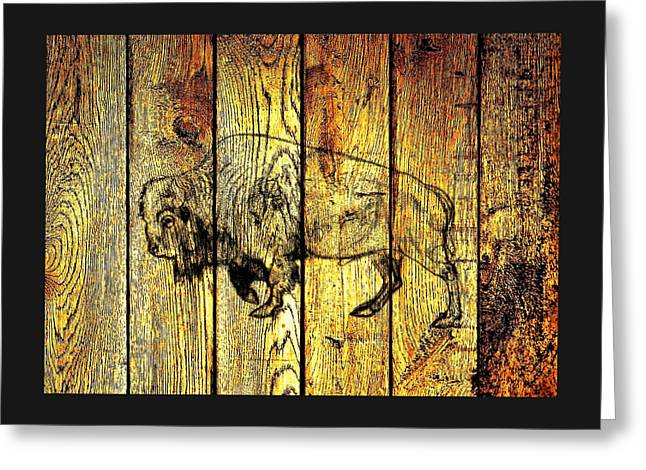 Greeting Card featuring the photograph Buffalo On Barn Wood by Larry Campbell