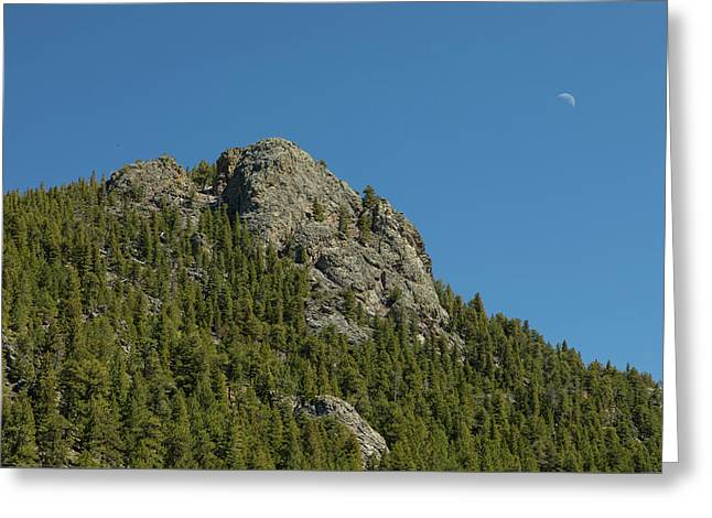Greeting Card featuring the photograph Buffalo Rock With Waxing Crescent Moon by James BO Insogna