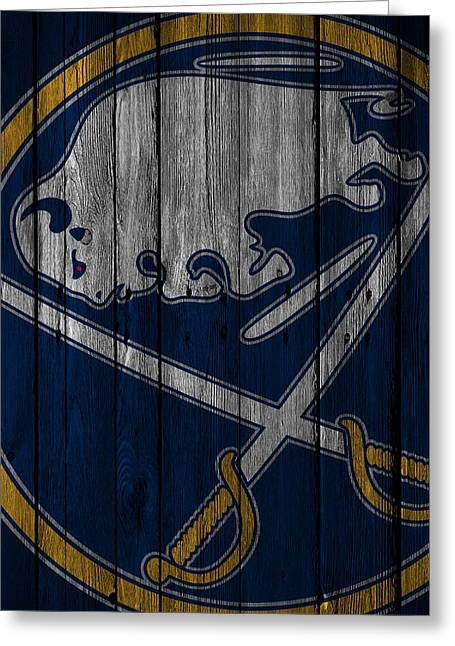 Buffalo Sabres Wood Fence Greeting Card by Joe Hamilton
