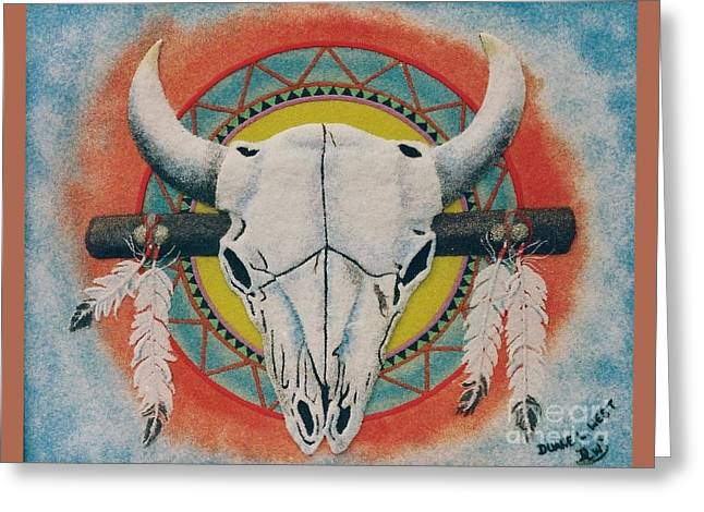 Buffalo Skull Greeting Card by Duane West