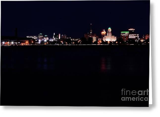 Buffalo Skyline At Night Greeting Card by Daniel J Ruggiero