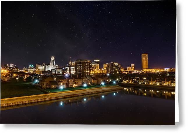 Buffalo Skyline Under The Stars Greeting Card