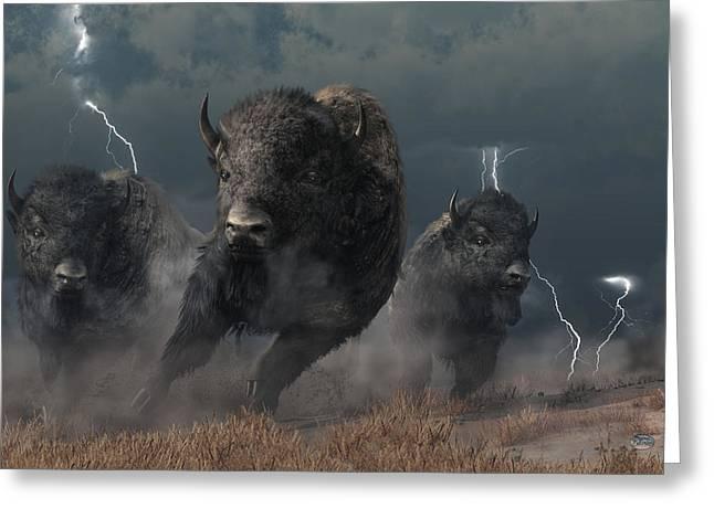 Buffalo Storm Greeting Card by Daniel Eskridge