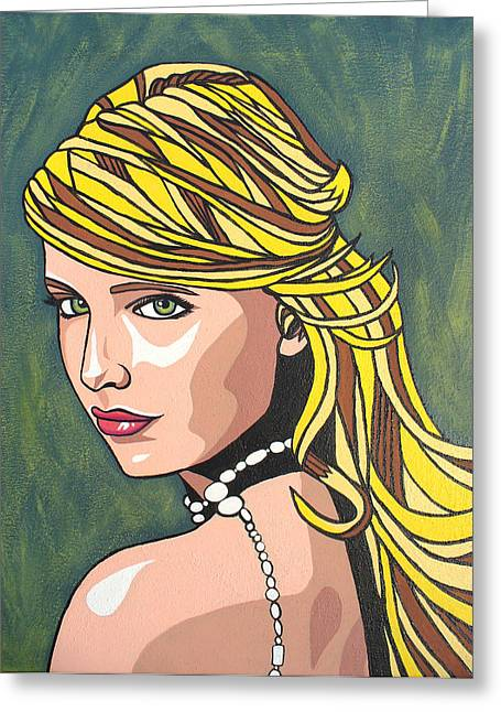 Greeting Card featuring the painting Buffy by Sarah Crumpler