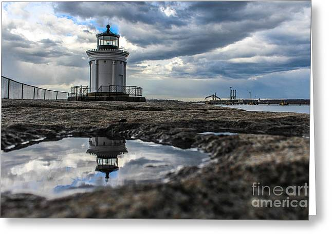 Bug Light Clouds And Reflection Greeting Card by Joe Faragalli