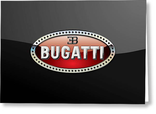 Bugatti - 3 D Badge On Black Greeting Card by Serge Averbukh