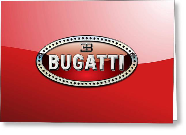 Bugatti - 3 D Badge On Red Greeting Card by Serge Averbukh
