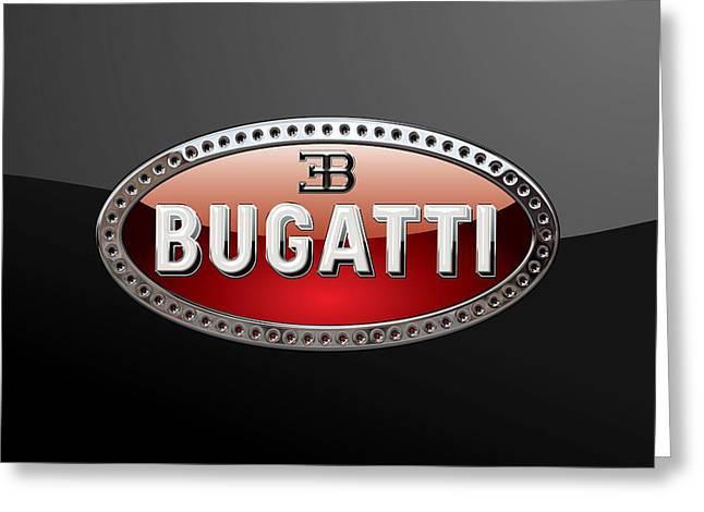 Bugatti - 3d Badge On Black Greeting Card by Serge Averbukh