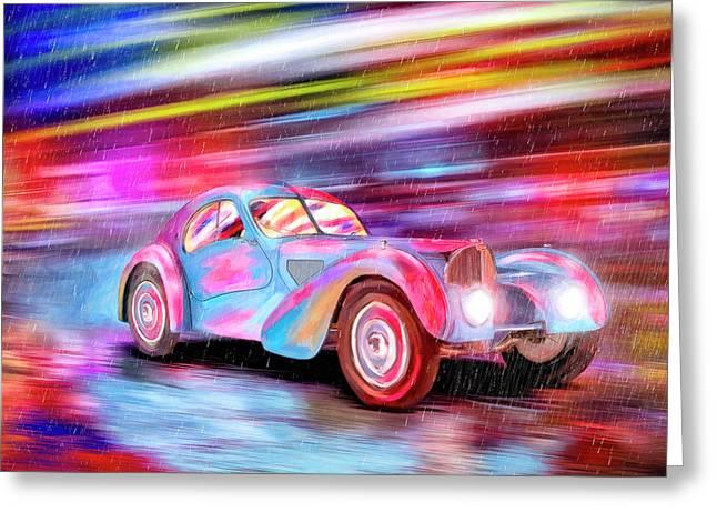 Bugatti In The Rain - Vintage Dreams Greeting Card