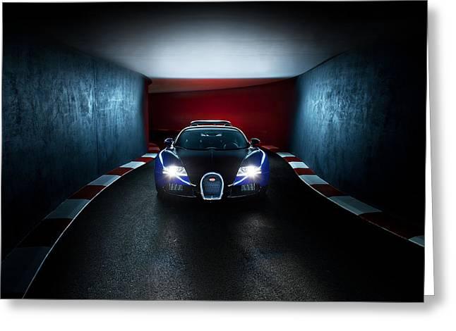 Bugatti Veyron In Secret Tunnel Greeting Card