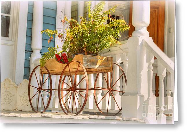Buggy Planter Greeting Card by Linda Covino