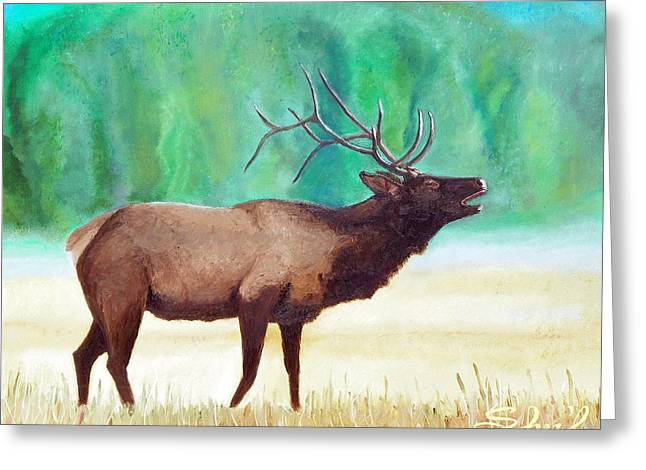 Greeting Card featuring the painting Bugling Elk by Sherril Porter