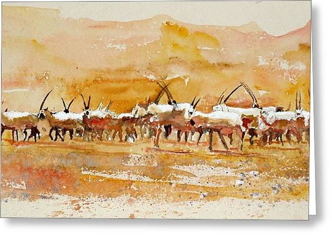 Buharan Oryx Greeting Card by Mike Shepley DA Edin