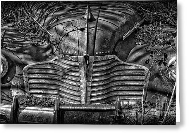 Buick Eight Front End Bw Greeting Card