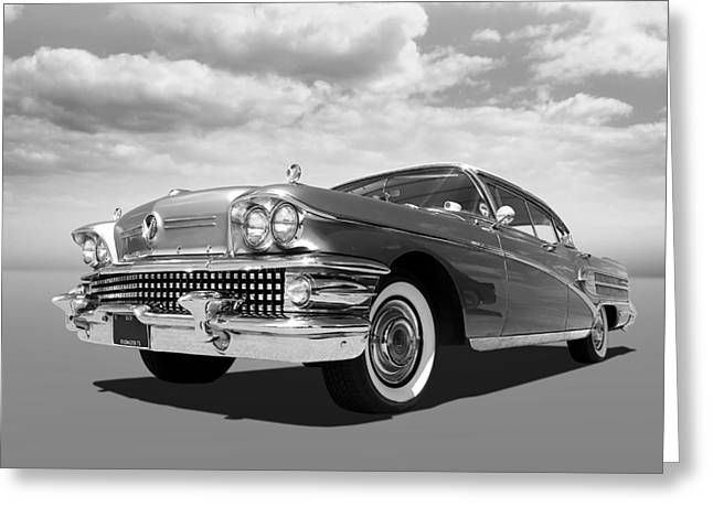 Buick Roadmaster 75 In Black And White Greeting Card by Gill Billington