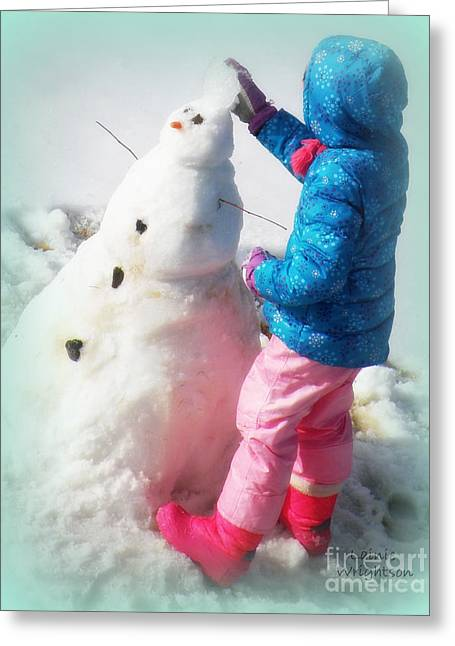 Building A Snowman Greeting Card