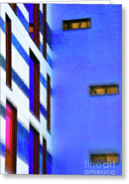 Greeting Card featuring the digital art Building Block - Blue by Wendy Wilton
