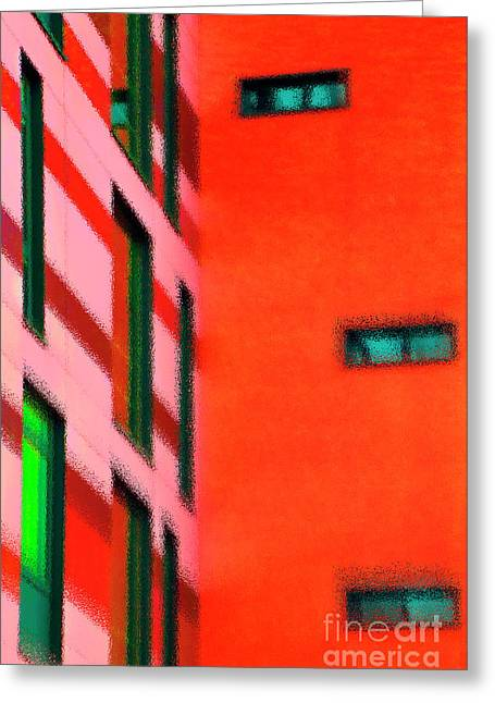 Greeting Card featuring the digital art Building Block - Red by Wendy Wilton