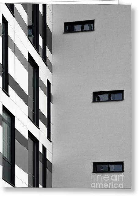 Greeting Card featuring the photograph Building Block - Black And White by Wendy Wilton