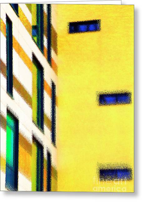 Greeting Card featuring the digital art Building Block - Yellow by Wendy Wilton