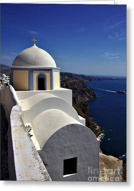 Greeting Card featuring the photograph Building In Fira by Jeremy Hayden