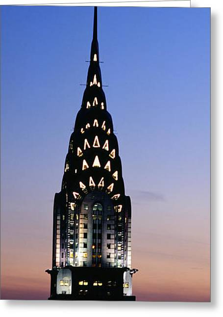 Building Lit Up At Twilight, Chrysler Greeting Card by Panoramic Images