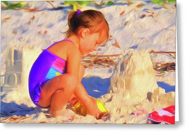 Building Sand Castles Greeting Card