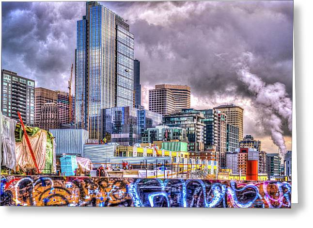 Building Seattle Greeting Card by Spencer McDonald