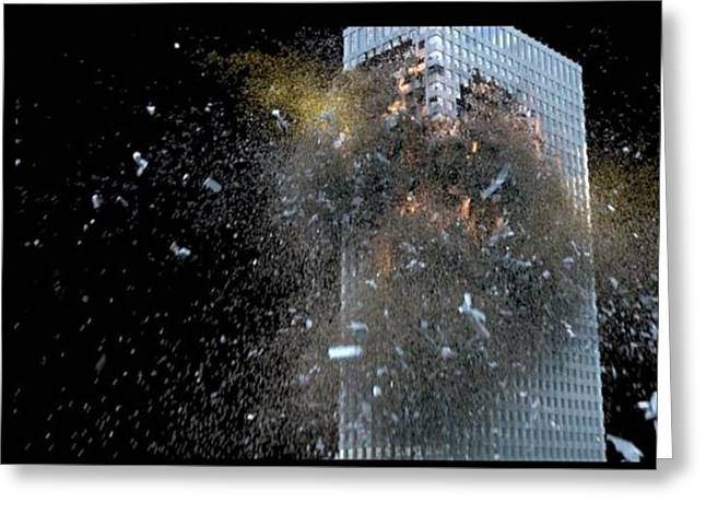 Building_explosion Greeting Card by Marcia Kelly