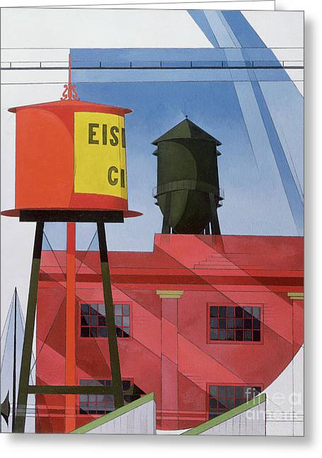 Red-roofed Buildings Greeting Cards - Buildings Abstraction Greeting Card by Charles Demuth