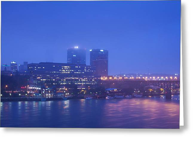 Buildings At The Riverside Lit Greeting Card by Panoramic Images