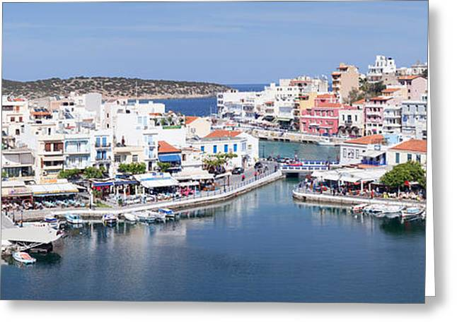 Buildings At Waterfront, Voulismeni Greeting Card by Panoramic Images